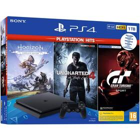 Herní konzole Sony PlayStation 4 1 TB + Gran Turismo Sport + Uncharted 4 + Horizon Zero Dawn (PS719318804)