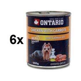Ontario Adult kuře, karotka a lososový olej 6 x 800g
