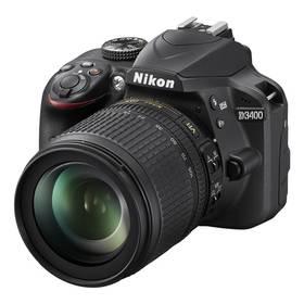 Nikon D3400 + 18-105 AF-S DX VR + 4x čištění čipu zdarma (VBA490K003) černý + Cashback 1300 Kč + Doprava zdarma
