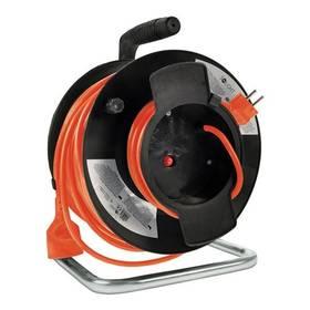Solight 1 zásuvka, 50m, 3x 1,5mm2 (PB12O) čierny/oranžový