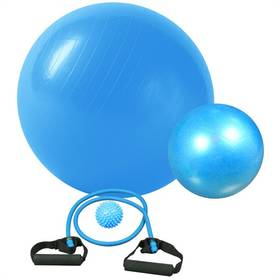 Fitness rehabilitační sada Brother gymball, overball, masážní míček, expandér - modrá barva