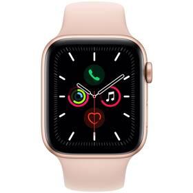 Apple Watch Series 5 GPS 44mm pouzdro ze zlatého hliníku - pískově růžový sportovní řemínek SK (MWVE2VR/A)
