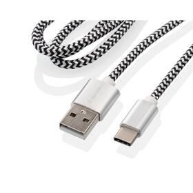 GoGEN USB / USB-C, 1m, opletený, zkumavka (USBAC100MM24T) strieborný