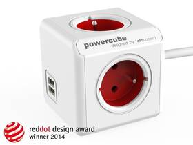 Kabel prodlužovací Powercube Extended USB, 4x zásuvka, 2x USB, 1,5m bílá/červená