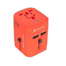 Cestovný adaptér GoGEN pro 150 zemí, 2x USB (GOGTC163WORLDR) červený