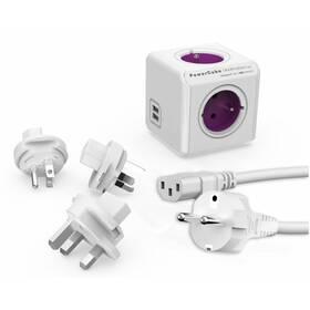 Powercube Rewirable USB+Travel Plugs+IEC, 4x zásuvka, 2x USB, 1m biely/fialový