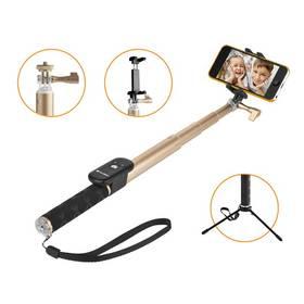Selfie tyč GoGEN 4 teleskopická, bluetooth, zlatá (GOGBTSELFIE4G) + Rukavice GoGEN pro dotykové displeje, velikost M - červené v hodnotě 199 Kč + Doprava zdarma