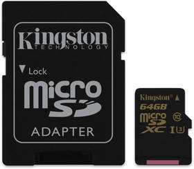 Kingston MicroSDXC 64GB UHS-I U3 (90R/45W) + SD adapter (SDCG/64GB) černá