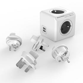 Powercube Rewirable USB + Travel Plugs - šedý (456308) šedý