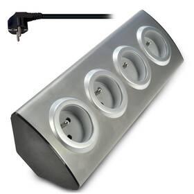 Solight 4x zásuvka, rohový design, 1,5m (PP103) strieborný