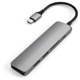 Satechi USB-C Slim Multimedia Adapter V2 (2x USB 3.0, USB-C, HDMI, Micro SD, SD) (ST-SCMA2M) sivá