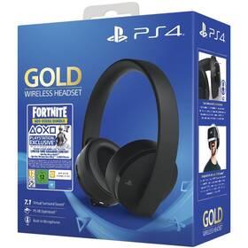 Sony Gold/Black Wireless Headset + Fortnite balíček (PS719959809) černý