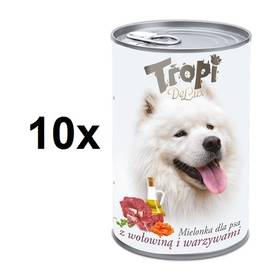 Tropi De Lux Dog kousky v konzervě s příchutí hovězího a zeleniny 10 x 400 g