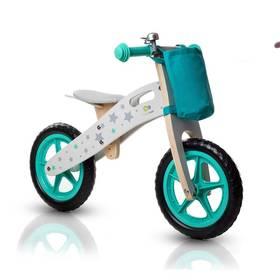 """KinderKraft Runner Bike 12"""" tyrkysové + Reflexní sada 2 SportTeam (pásek, přívěsek, samolepky) - zelené v hodnotě 58 Kč + Doprava zdarma"""