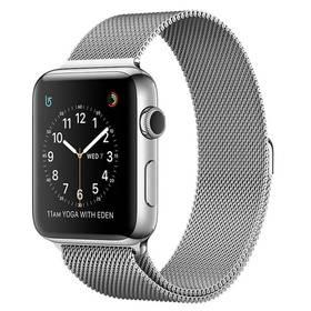 Apple Watch Series 2 38mm pouzdro z nerezové oceli + stříbrný Milánský řemínek (MNP62CN/A) + Doprava zdarma