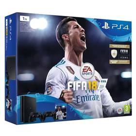 Sony PlayStation 4 SLIM 1TB + DS4 černý + FIFA18 + PS Plus 14 dní (PS719915867) černá + Doprava zdarma