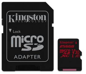 Kingston Canvas React microSDXC 256GB UHS-I U3 (100R/70W) + adaptér (SDCR/256GB)