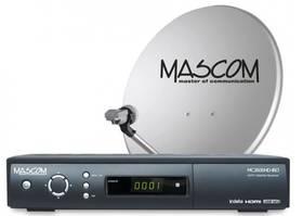 Satelitný komplet Mascom MC2600/80MBL+karta Skylink Standart M7, příjem 2 družic čierny