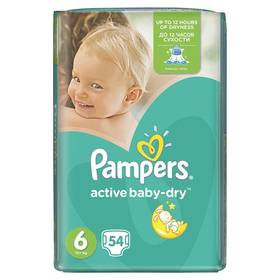 Pampers Active Baby-dry vel.6 Extra Large, 54ks