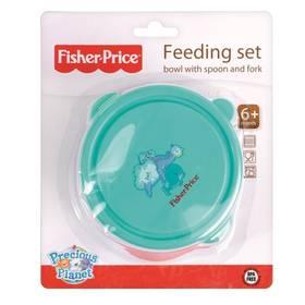 Fisher-Price miska+lžička+vidlička modrá