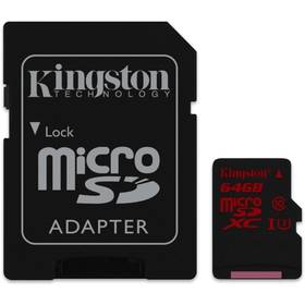 Kingston MicroSDHC 64GB UHS-I U3 (90R/80W) + adapter (SDCA3/64GB)