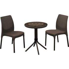 Allibert Chelsea + Mosaic stůl hnědý + Houpačka CUBS dřevěná s ohrádkou v hodnotě 199 KčZahradní gril kulatý SportTeam 35cm + Doprava zdarma