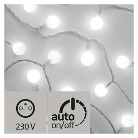 EMOS 40 LED světelný řetěz – kuličky 2,5cm, 4m, studená bílá, časovač (1534202200)