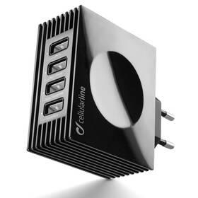 CellularLine Quad Ultra 4 x USB, 21W/4.2 A (ACHUSBQUAD4AK) čierna
