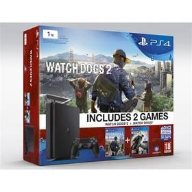 Sony PlayStation 4 SLIM 1TB + Watchdogs 1+2 (PS719890454) černá + Gamepad Sony Dual Shock 4 pro PS4 v2 - modrý v hodnotě 1 299 Kč + Doprava zdarma
