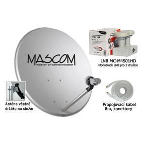 Mascom OP-VJ2 + LNB monoblock + kabel koax sivá