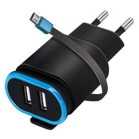 Forever TC-02, 2x USB, micro USB kabel (ATC2USB24AMUKBKTFO) čierna