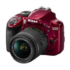 Nikon D3400 + AF-P 18-55 VR + 4x čištění čipu zdarma (VBA491K001) červený + Doprava zdarma