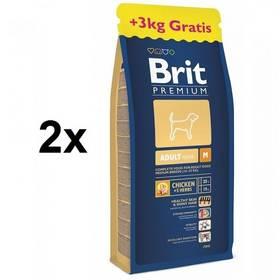 Brit Premium Dog Adult M 2 x 15 + 3 kg ZDARMA + Doprava zdarma