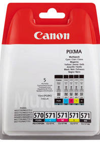 Canon PGI-570/CLI-571 PGBK/C/M/Y/BK MULTI BL w/o SEC (0372C004) černá/červená/modrá/žlutá + Doprava zdarma