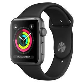 Apple Watch Series 3 GPS 42mm pouzdro z vesmírně šedého hliníku - černý sportovní řemínek (MQL12CN/A) + Doprava zdarma