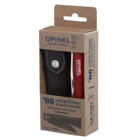 Opinel N°08 Trekking handle + sheath set (nůž, pouzdro) červený