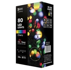EMOS 80 LED, kulička, 8m, řetěz, vícebarevná, časovač, i venkovní použití (1534091015)