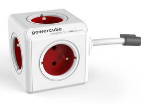 Powercube Extended, 5x zásuvka, 3m červená/béžová
