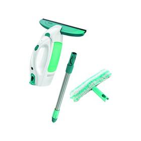 Leifheit Window Cleaner s tyčí 51003 + mop na okna bílá barva/zelená barva Čistící přípravek Leifheit na sklo a zrcadla 500 ml (zdarma) + Doprava zdarma