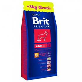 Brit Premium Dog Adult L 15 + 3 kg ZDARMA