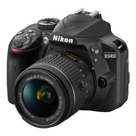 Nikon D3400 + AF-P 18-55 VR + 4x čištění čipu zdarma (VBA490K001) černý + Cashback 1300 Kč + Doprava zdarma