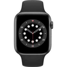 Apple Watch Series 6 GPS 44mm pouzdro z vesmírně šedého hliníku - černý sportovní náramek (M00H3VR/A)
