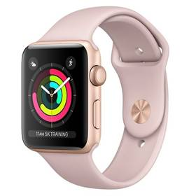 Apple Watch Series 3 GPS 42mm pouzdro ze zlatého hliníku - pískově růžový sportovnm řemínek (MQL22CN/A) + Doprava zdarma