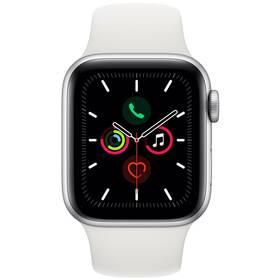 Apple Watch Series 5 GPS 40mm pouzdro ze stříbrného hliníku - bílý sportovní řemínek (MWV62HC/A)