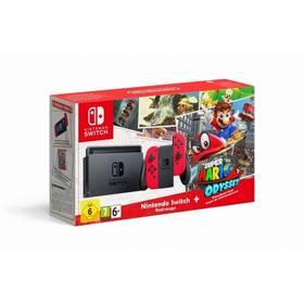 Nintendo Switch s Joy-Con - šedá/ červená + Super Mario Odyssey (NSH020) šedá/červená + Doprava zdarma