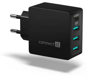 Connect IT Fast Charge 3x USB + 1x USB-C, 4,8A s funkcí rychlonabíjení (CWC-4060-BK) černá