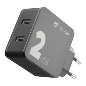 CellularLine Multipower 2, Smartphone detect, 2 x USB port, 24W (ACHUSB224WK) černá (vrácené zboží 8800886049)