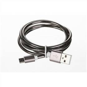 CellFish USB/micro USB, kovový, 1m (CELLKOVGREY) šedý