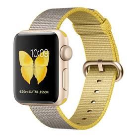 Apple Watch Series 2 38mm pouzdro ze zlatého hliníku – žlutý / světle šedý řemínek z tkaného nylonu (MNP32CN/A) + Doprava zdarma