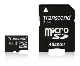 Transcend MicroSDHC 4GB Class4 + adapter (TS4GUSDHC4) černá